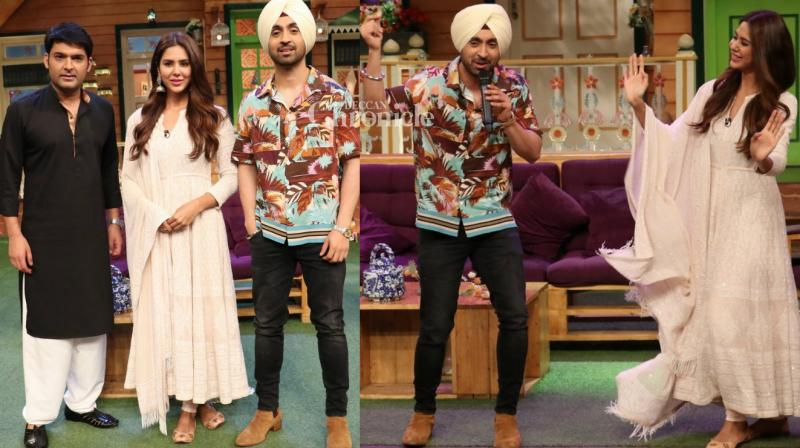 Diljit Dosanjh and his co-star Sonam Bajwa from their Punjabi film 'Super Singh' shot for an episode on Kapil Sharma's comedy show in Mumbai. (Photo: Viral Bhayani)