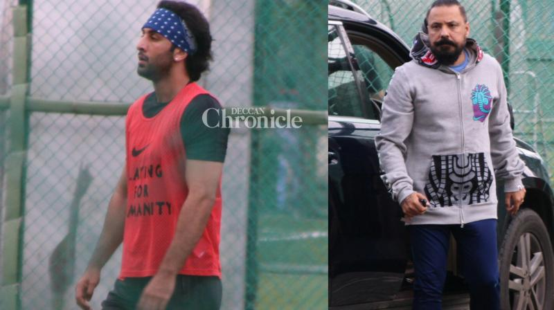 Ranbir Kapoor, who has been busy with the promotions of his upcoming film 'Jagga Jasoos', was snapped during his football session in Mumbai on Sunday. (Photo: Viral Bhayani)