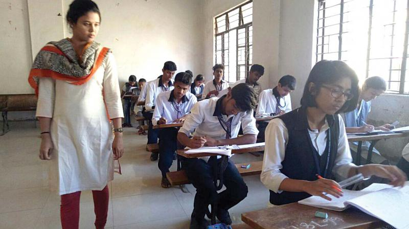 Hassan Deputy Commissioner Rohini Sindhuri inspects the  second PU examinations at a centre in the district