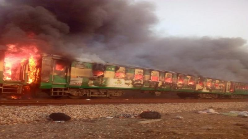 74 people were killed and dozens of others sustained injuries after a cooking gas cylinder exploded in the Rawalpindi-bound passenger train near Rahim Yar Khan on October 31. (Photo: ANI)