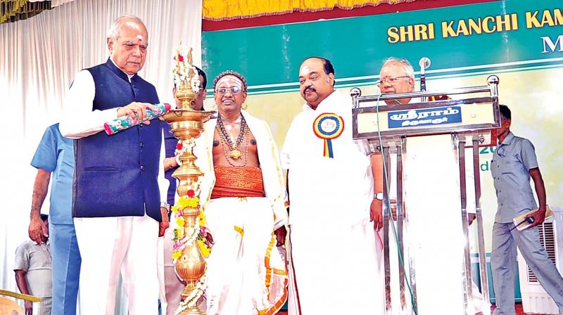 Tamil Nadu Governor Banwarilal Purohit, inaugurates the Pancha Ratna Kritis of Saint Thyagaraja music festival by lighting the Kuthuvilakku at Tiruvarur on Saturday.	(DC)