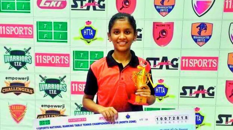 Akula Sreeja poses with the winner's trophy.