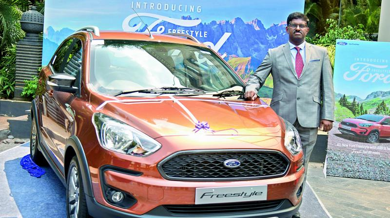 Ford India general manager (sales and marketing) Antony C. Kurian at the launch of Ford Freestyle in Hyderabad on Thursday. (Photo: DC)