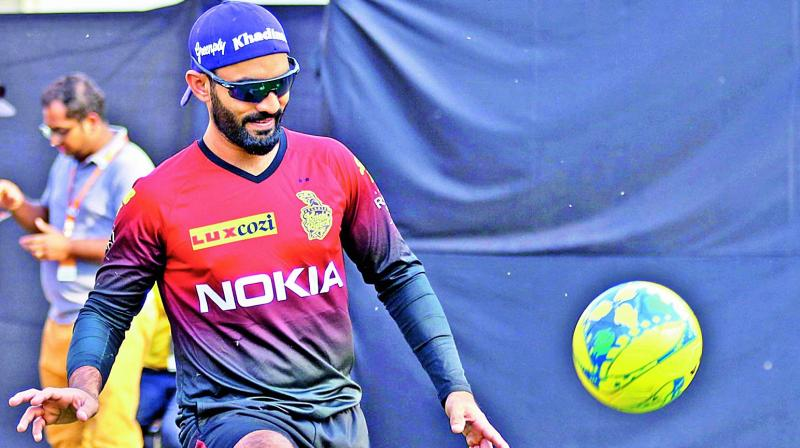 KKR captain Dinesh Karthik during a training session