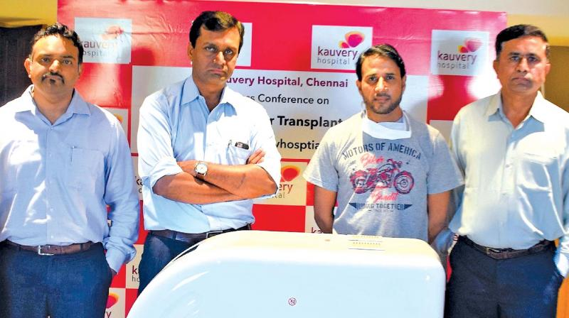 The team of doctors, led by Dr S Vivekanandan with Vimal Kumar Sharma, the patient (third from left).
