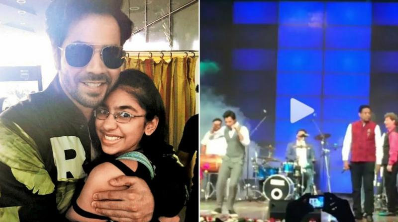 Varun Dhawan meets a fan, screenshot from his dance on 'Tan Tana Tan' at an event. (Photo: Instagram)