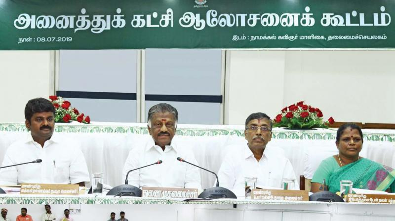 Deputy Chief Minister O. Panneerselvam presides over an all-party meeting held at the secretariat on Monday to discuss the 10 per cent EWS quota. (Photo: DC)