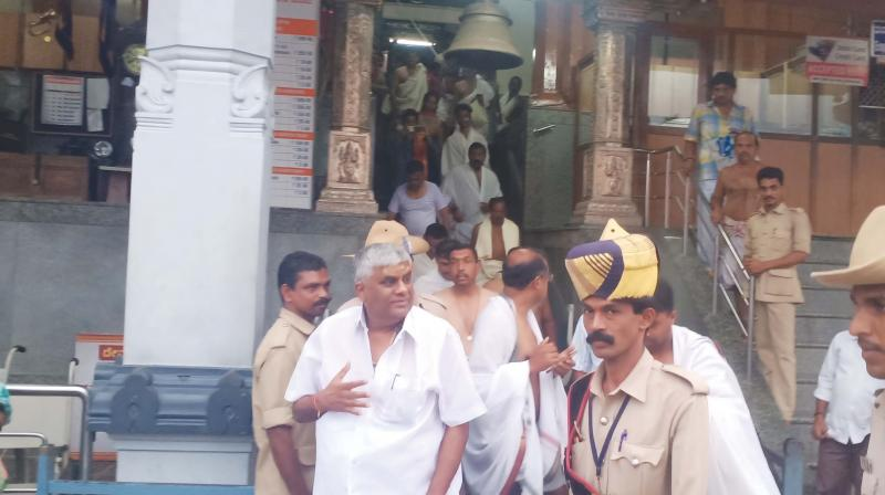 Minister H.D. Revanna at Dharmasthala in Dakshina Kannada district on Sunday after offering prayers at Kollur Sri Mookambika Temple in Udupi district