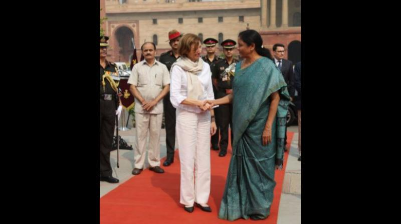 Defence Minister Nirmala Sitharaman and her French counterpart Florence Parley deliberated on a host of key issues, including the regional security situation, transfer of critical technology for various defence projects and ways to ramp up overall strategic ties. (Photo: Twitter | @DefenceMinIndia)