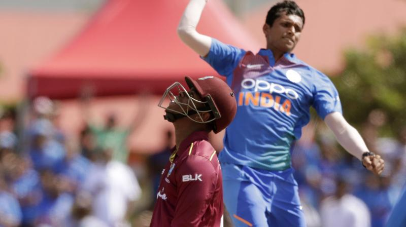 26-year-old Navdeep Saini claimed three wickets for 17 runs to star in India's four-wicket win against the Windies on Saturday. (Photo:AP)