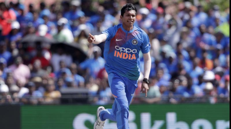 26-year-old Navdeep Saini starred in India's 4-wicket win by taking three wickets for 17 runs on Saturday. He was adjudged man-of-the-match for his impressive bowling display which saw India restrict West Indies to 95 for 9. (Photo:AP)