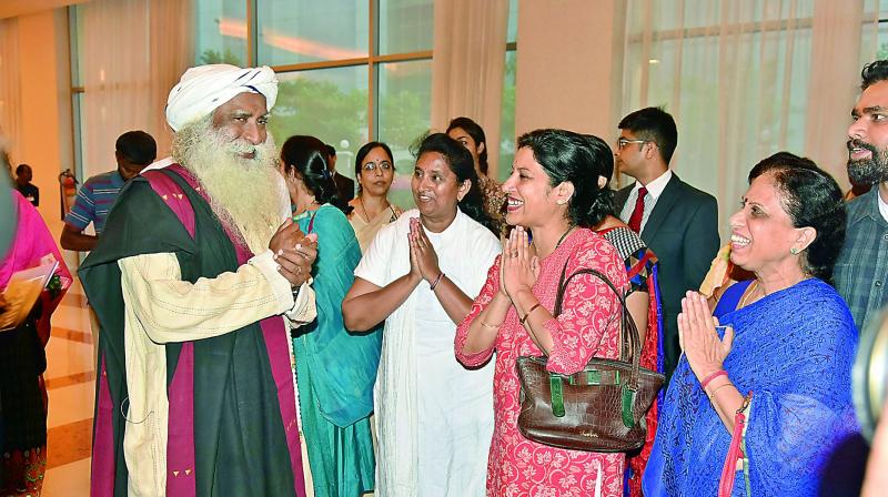 Press conference of founder Isha Foundation Sadhguru Jaggi Vasudev on Wednesday.  (Photo:DC)
