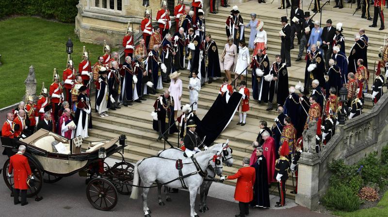 Queen Elizabeth is seen leaving St. George's Chapel, WIndsor Castle after the Order of the Garter Service on June 17, 2019. (Photo: AP/Ben Stansall)