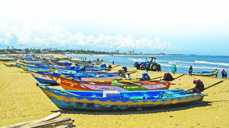 Fishing boats stay off sea at Mahabalipuram coast on Wednesday.  (Photo: DC)