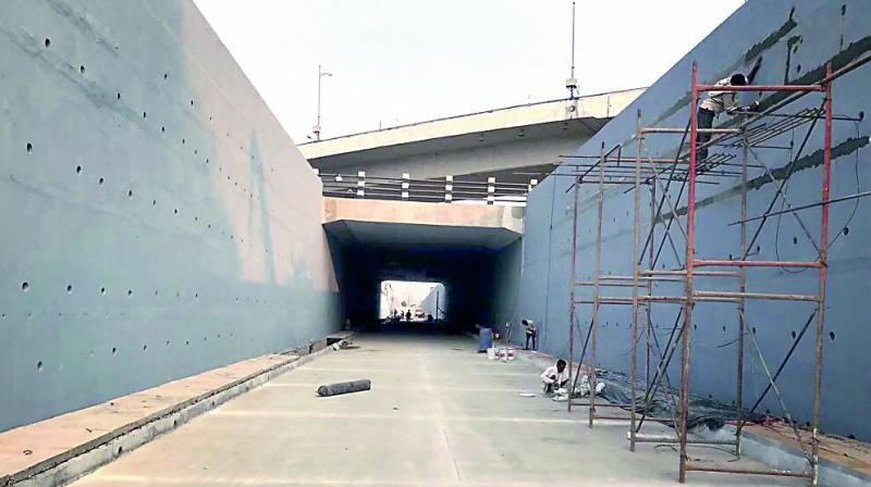 The underpass was built to ease traffic congestion.