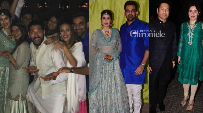 Before the grand wedding on Monday, celebrities attended the Mehendi ceremony of Zaheer Khan and Sagarika Ghatge in Mumbai on Sunday. (Photo: Viral Bhayani/Instagram)