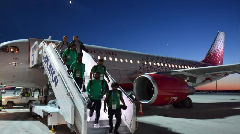 Engine catches fire on Saudi Arabia's team plane