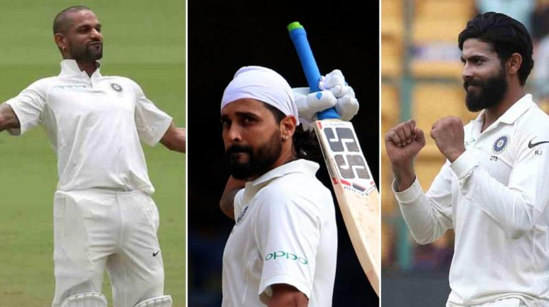 Shikhar Dhawan, Murali Vijay and Ravindra Jadeja had an incredible outing during their recent one-off test match against Afghanistan. (Photo: BCCI)