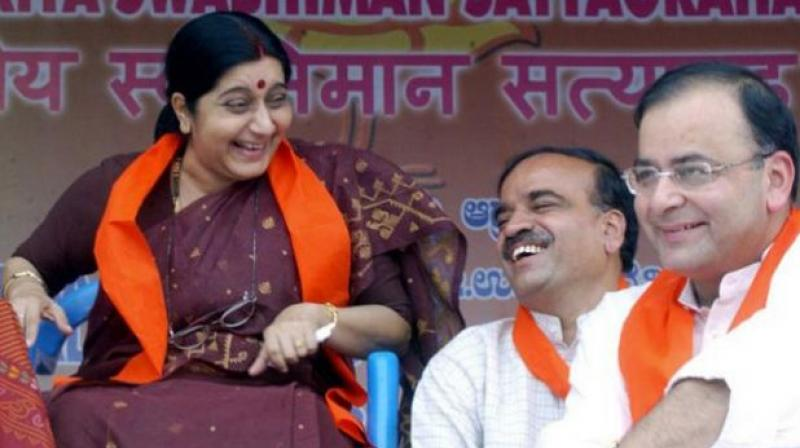 Sushma Swaraj and Arun Jaitley passed away in quick succession in August 2019, in a span of 18 days, leaving a void in the party that may be difficult to fill for a long time to come.  (Photo: AFP)