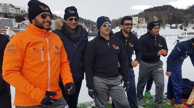 Pink ball is being used but as Sehwag wants at least T10 to be included in the Winter Olympics, it's still some way to go before it can even be considered a practical possibility. (Photo: Twitter)