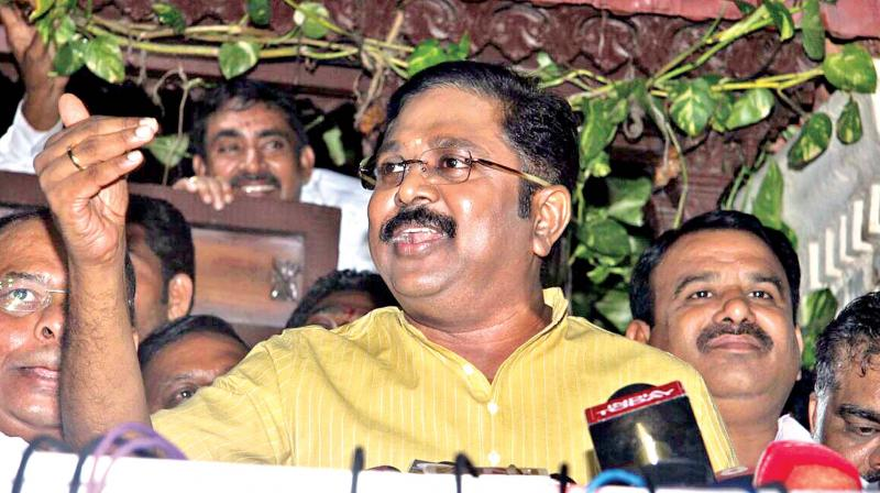 TTV Dhinakaran had on Tuesday swore to throw the ruling Tamil Nadu government out of power. (File photo)