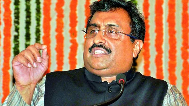 Madhav addressing a gathering on Friday. (Photo: File)