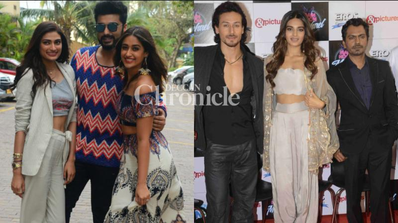 The cast and crew of upcoming releases 'Mubarakan' and 'Munna Michael' were spotted during the promotions of their films in Mumbai on Friday. (Photo: Viral Bhayani)