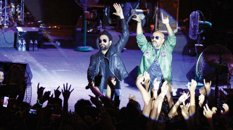 Bollywood musical duo Vishal Dadlani and Shehkar Ravjiani perform during the pre-show of NIT-C Ragam in Kozhikode on Friday.