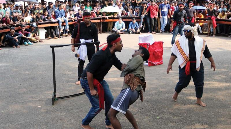 A street play organised in connection with Ragam 18 at NIT-C in Kozhikode on Sunday.	—DC