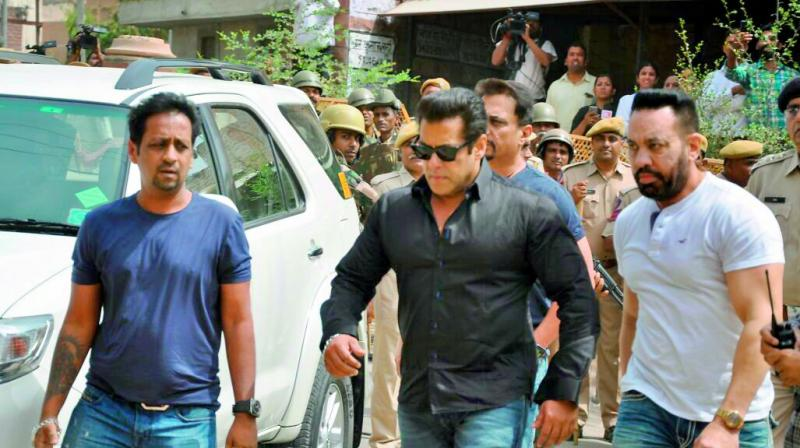 Bollywood actor Salman Khan arrives at the court for a hearing in allegations on blackbuck hunting case, in Jodhpur on Thursday. (Photo: PTI)