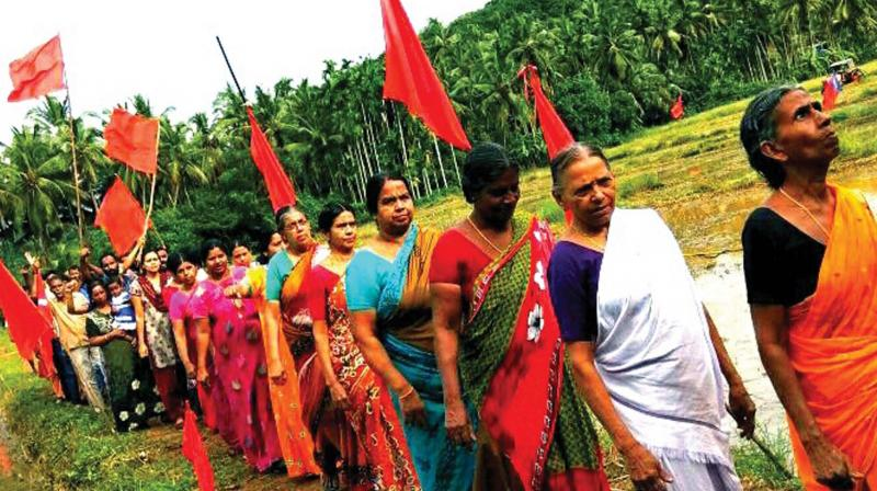 Vayalkkilikal carry out a protest march at Keezhatoor. 	— DC File