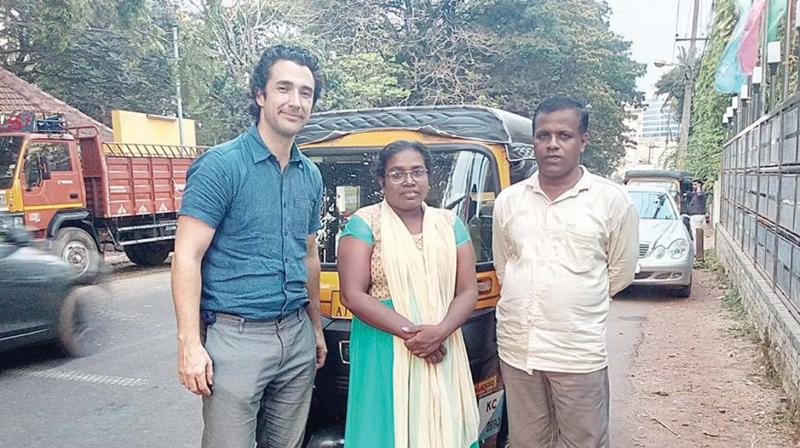 Chitralekha and her husband Sreeshkant with British scriptwriter Fraser Scott during a recent visit by the latter.