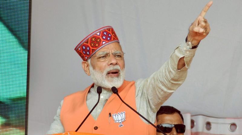 Prime Minister Narendra Modi was addressing a rally in Una, Himachal Pradesh, on Sunday for the upcoming Assembly elections. (Photo: PTI)