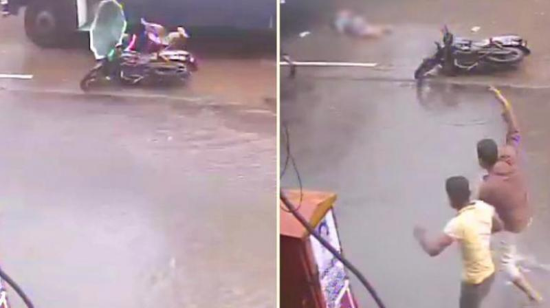 #MumbaiRains - Woman falls off Bike and Bus runs over her - CCTV Captures shocking Video
