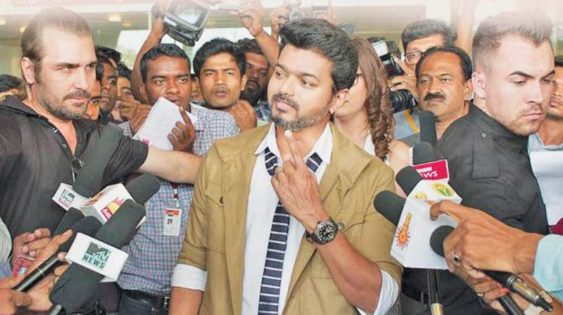 Vijay seen in a still from Sarkar