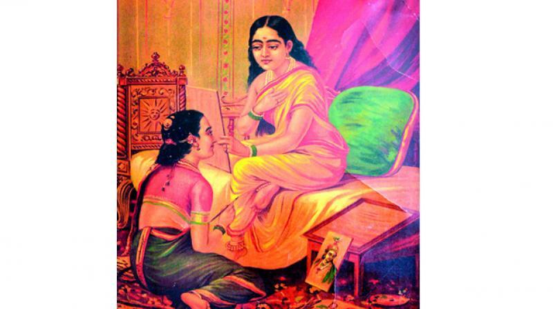 Raja Ravi Varma's Chitralekha, Oleograph, Late 19th –early 20 th Century.