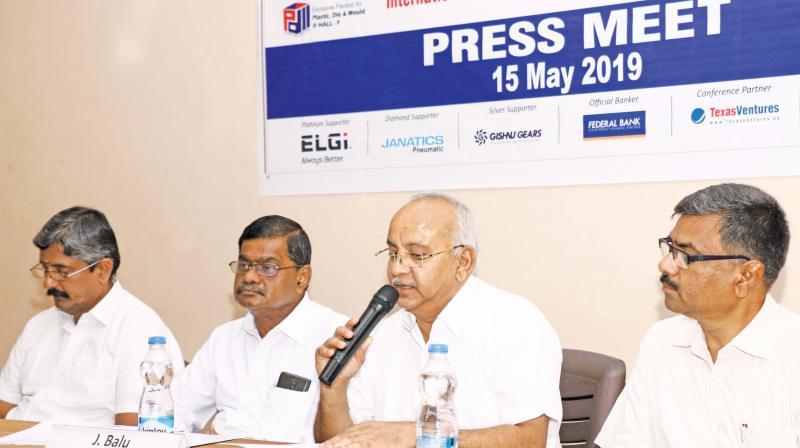 Balu, chairman of INTEC-2019, is announcing the launch of international machine fair in Coimbatore.(Photo: DC)
