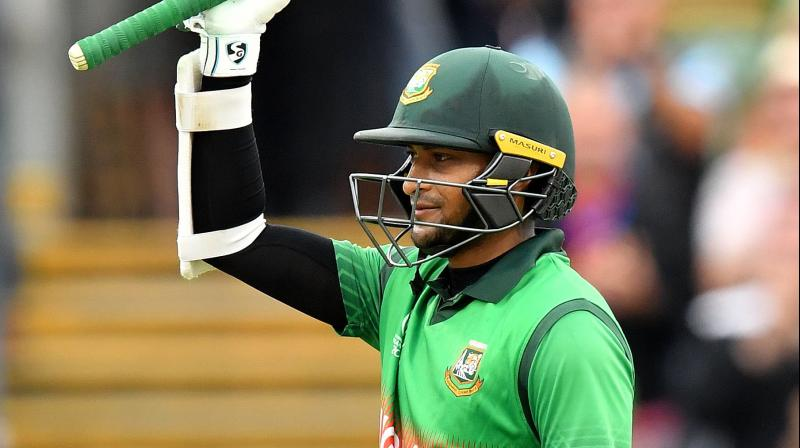 Shakib Al Hasan has now fetched 384 runs in just four innings at the world's biggest stage, 41 runs clear of top scorer Aaron Finch who has played one innings extra. (Photo:AFP)