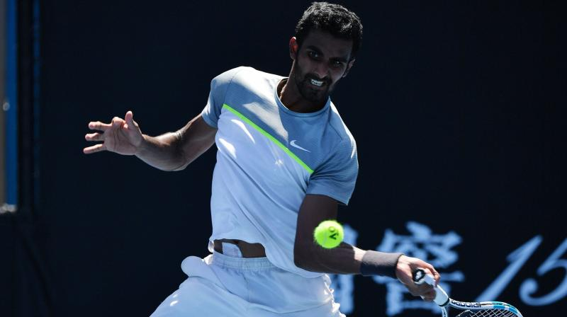 Frances Tiafoe beat Prajnesh Gunneswaran in a match that lasted an hour and 52 minutes. (Photo: AFP)