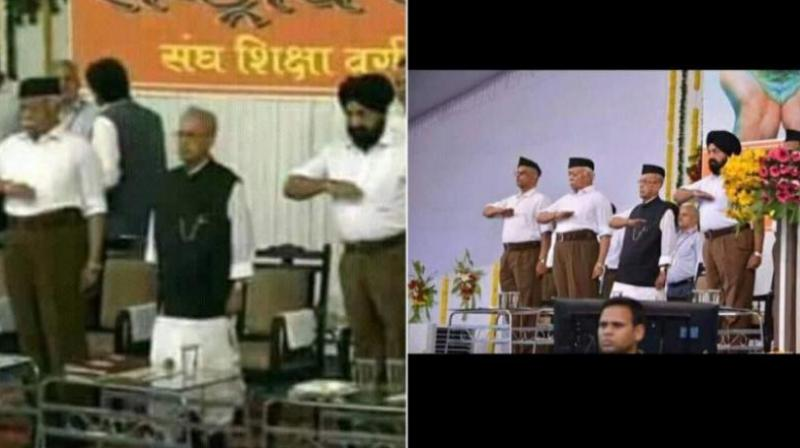 The morphed photo (right) of former President Pranab Mukherjee at the RSS event in Nagpur. (Photo: Twitter | @RuchisharmaINC)
