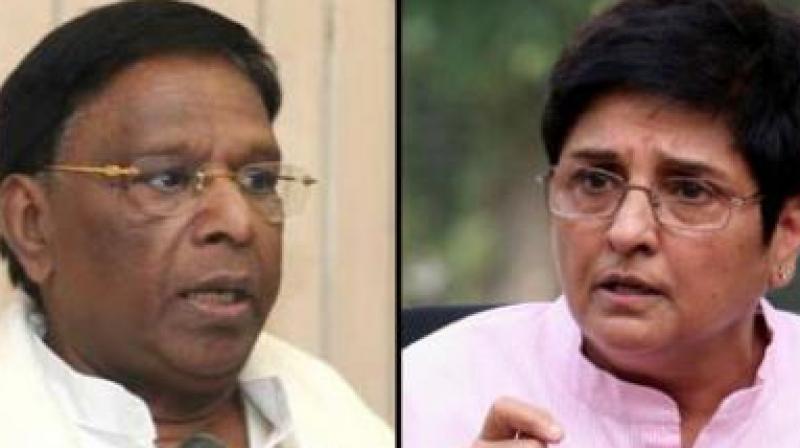 Chief Minister V Narayanasamy and Lieutenant Governor Kiran Bedi