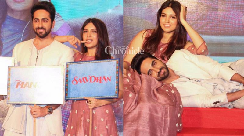 The team of 'Shubh Mangal Savdhan' launched the trailer of the upcoming film at an event in Mumbai on Tuesday. (Photo: Viral Bhayani)