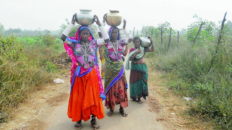 Tribals in Mahbubabad go in search of drinking water on Wednesday. 	— DC