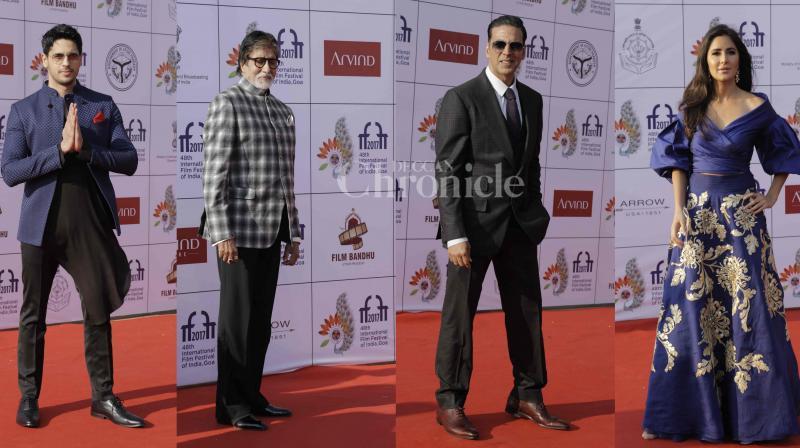 B-town celebs Amitabh Bachchan, Akshay Kumar, Katrina Kaif, Karan Johar, Bhumi Pednekar, Sushant Singh Rajput, Sidharth Malhotra made some stunning red carpet appearances at the closing ceremony of 8-days long IFFI-2017 in Goa. (Photos: Viral Bhayani)