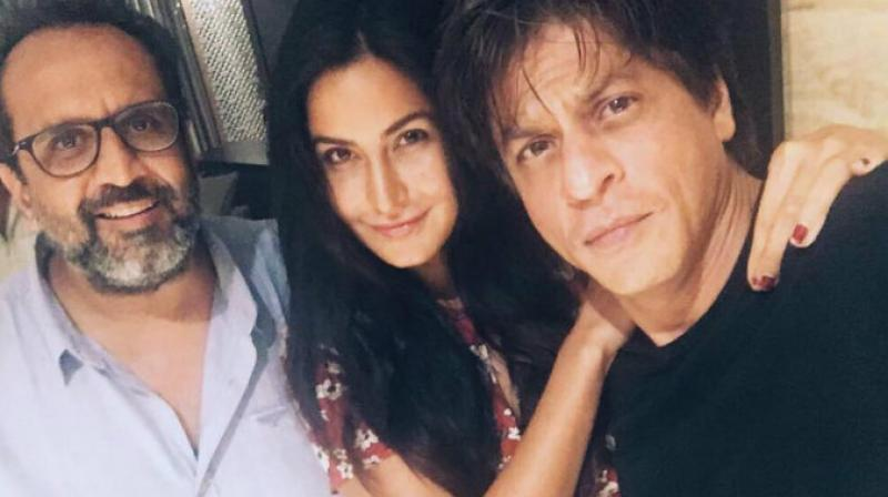 Katrina Kaif with Shah Rukh Khan and Anand L Rai on the sets of their forthcoming film.