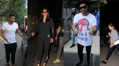 Bollywood celebrities Arjun Kapoor, Sushmita Sen, Padmavati stars Deepika Padukone and Ranveer Singh were clicked by the paparazzi in the city last night. (Photos: Viral Bhayani)