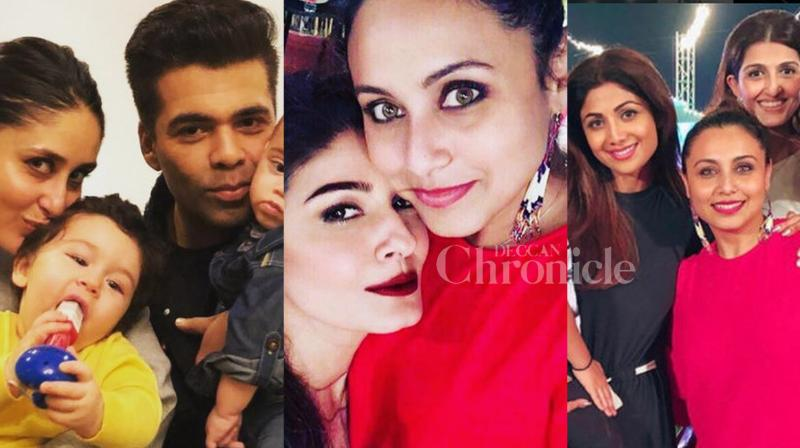 Rani Mukerji turned a perfect host at her daughter Adira's birthday bash. It was a gala time for Bollywood celebrties like Kareena Kapoor Khan, Karan Johar, Karisma Kapoor, Rani Mukerji, Shilpa Shetty, Rekha, Sridevi Boney Kapoor, Shamita Shetty, Raveena Tondon and others who were present at Adira's first birthday. (Pictures credit: Instagram)