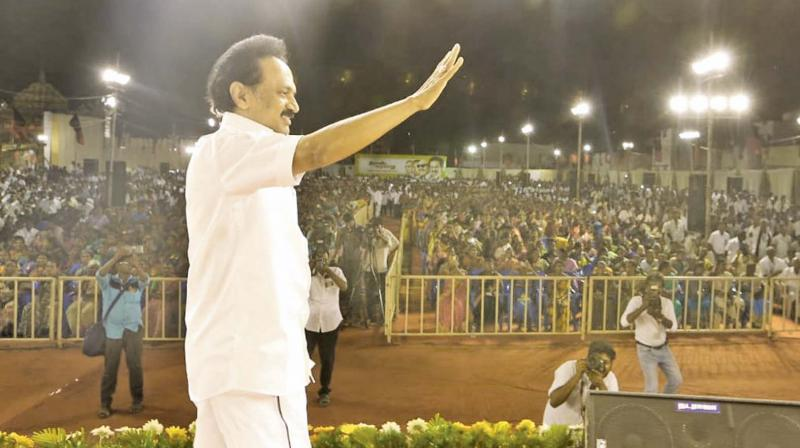 DMK president M.K. Stalin at a party rally in Sattur on Monday (Photo: DC)