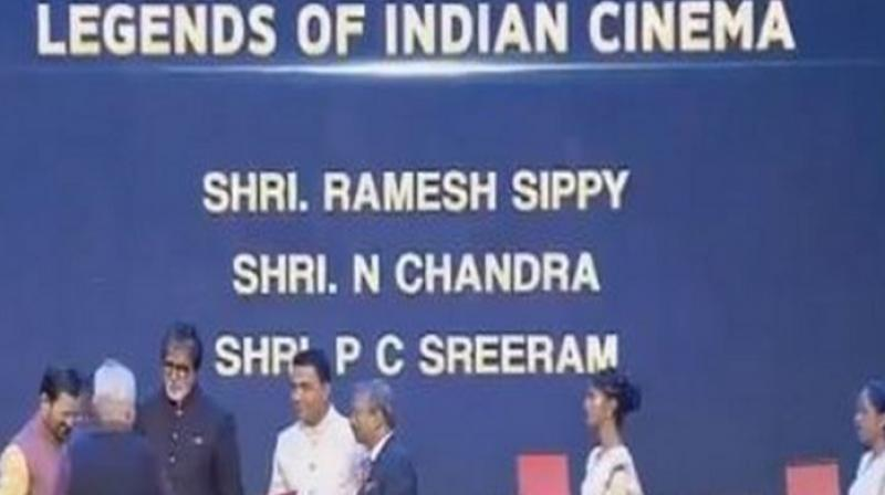Ramesh Sippy being honoured at IFFI 2019.