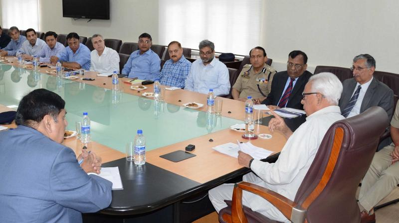 J&K Governor Narinder Nath Vohra held a marathon meeting with all administrative secretaries and senior police and forest official at the Civil Secretariat in Srinagar to discuss various issues concerning the state. (Photo: DC)